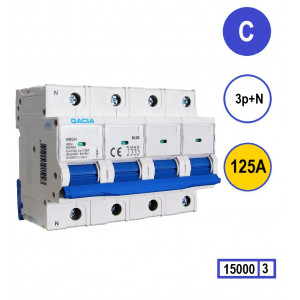GACIA N8GH-3NC125 inst. 3p+n, curve C, 125A, 15kA