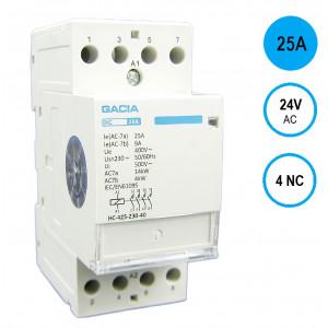 GACIA HC-2504a Inst.relais 25A/4NC/24VAC