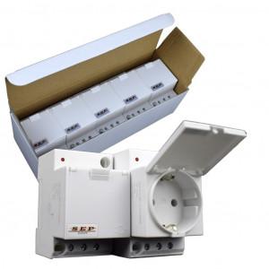 SEP IWCD-G stopcontact 2p+PE, led, deksel, DIN-MOD