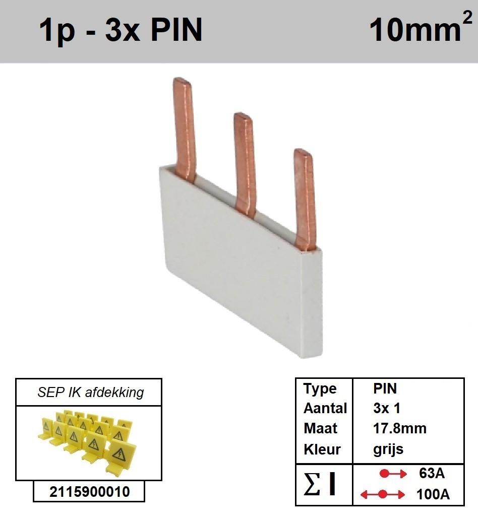 Schotman Elektro - SEP aansluitrail PIN 3x1 aansluitingen 17.8mm