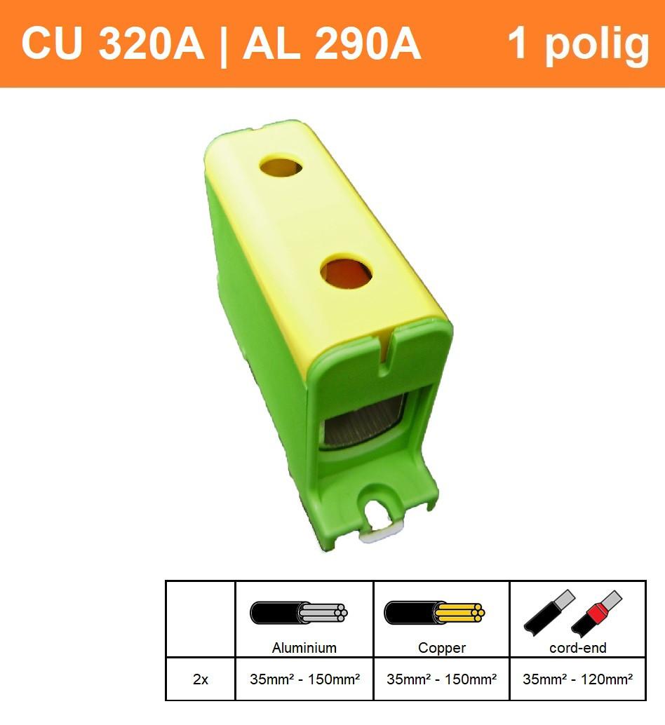 Schotman Elektro - SEP CK63 aansluitklem 35-150mm2 geel groen