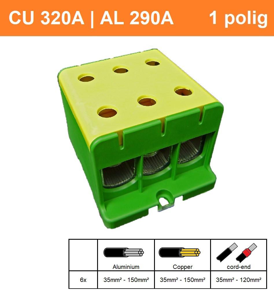 Schotman Elektro - SEP CK73 aansluitklem 35-150mm2 geel groen