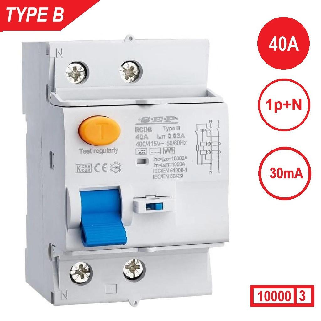 Schotman Elektro - SEP aardlekschakelaar 1p+n, 40A, 30mA, type B, 10kA