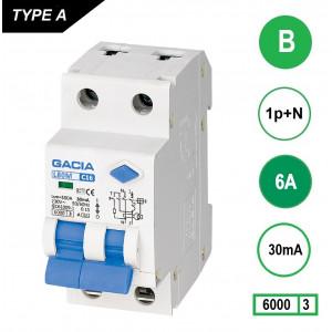 GACIA L80M aardlekautomaat 1p+n B6 30mA