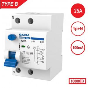 GACIA aardlekschakelaar Type B, 25Amp, 100mA, 2 polig 10kA