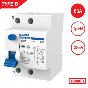 GACIA aardlekschakelaar Type B, 63Amp, 30mA, 2 polig 10kA